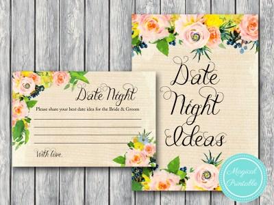 BS183-date-night-sign-rustic-burlap-floral-bridal-shower-games