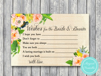 BS183-wishes-for-bride-and-groom-rustic-burlap-floral-bridal-shower-games