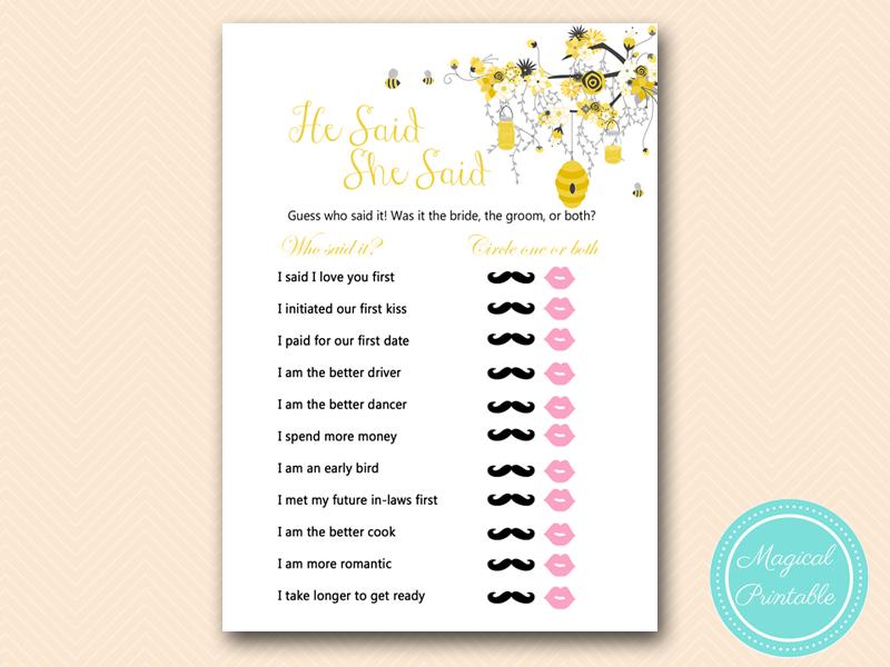 bs185 he said she said bridal honey bee bridal shower game printable