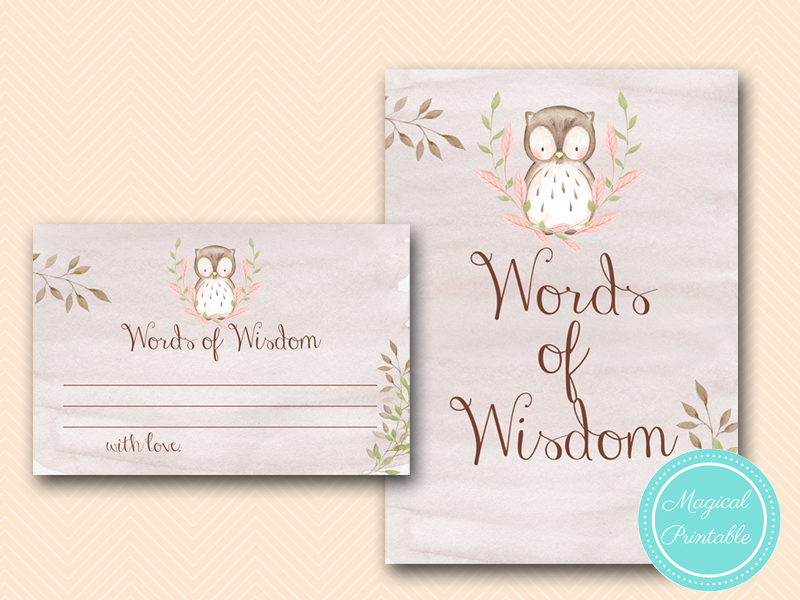 Owl Baby Shower Games Woodland Magical Printable