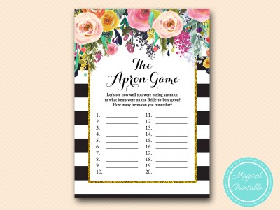 Gold Floral Bridal Shower Games Magical Printable