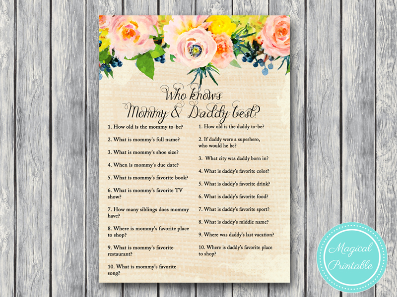 Rustic Burlap And Floral Baby Shower Game Magical Printable