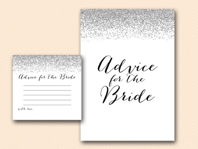 advice for the bride card silver bridal shower