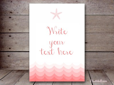 coral beach nautical decoration signs welcome sign, cards and gifts favors sign