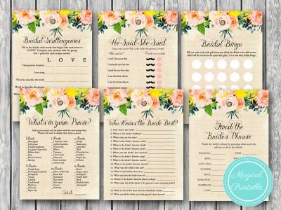 floral rustic burlap bridal shower games bs183