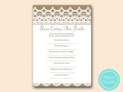 here comes the bride burlap and lace bridal shower game