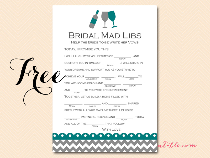 FREE Wined Themed Bridal Shower Game Pack - Magical Printable