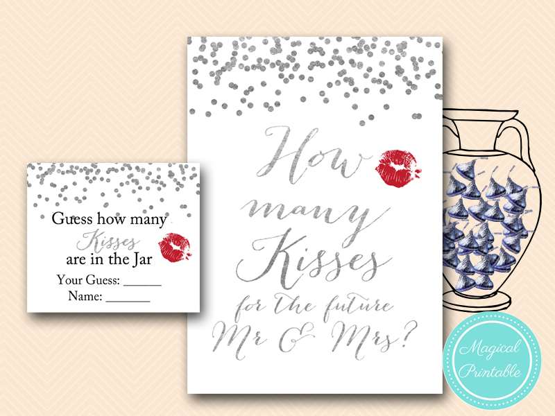 This is a picture of Comprehensive Guess How Many Kisses for the Soon to Be Mrs Free Printable