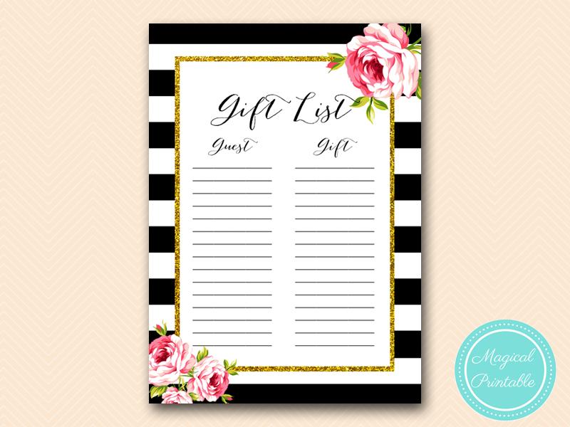 ... -guests-list-gift-black-stripes-pink-floral-chic-bridal-shower-game