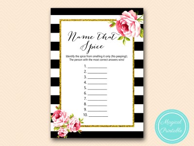 BS10B-name-that-spice-black-stripes-pink-floral-chic-bridal-shower-game