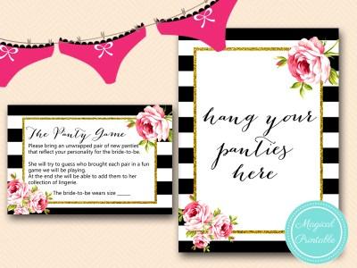 BS10B-panty-game-hang-black-stripes-pink-floral-chic-bridal-shower-game
