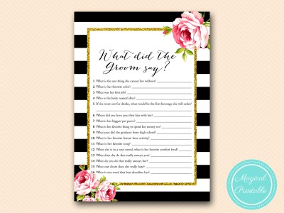 BS10B-what-did-the-groom-say-black-stripes-floral-chic-bridal-shower-game