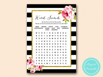 BS10B-word-search-bridal-black-stripes-pink-floral-chic-bridal-shower-game