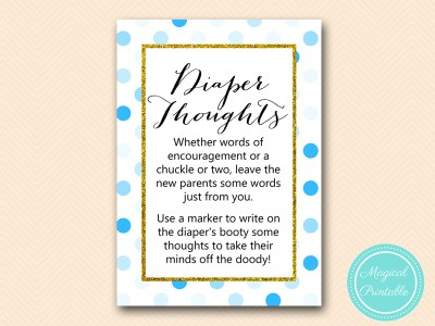 TLC430-B-diaper-thoughts-boy-blue-dots-baby-shower-game-gold