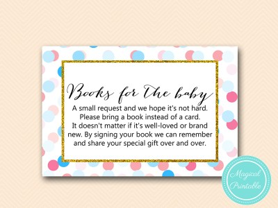 TLC430-R-books-for-baby-insert Gold, Pink, Blue Dots Gender Reveal