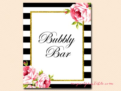 bubbly bar sign for black stripes floral bridal shower sign wedding sign