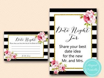 date night idea jar sign and cards black stripes floral bridal shower game printable