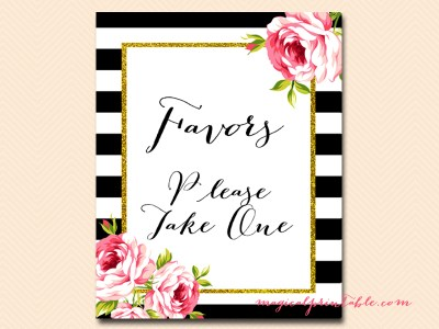 favors black stripes floral bridal shower sign wedding