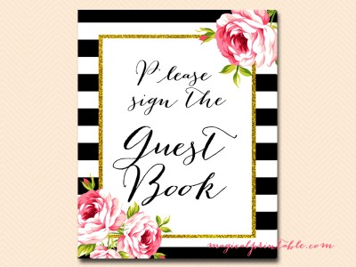guestbook black stripes floral bridal shower sign wedding