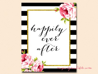 happily-ever-after black stripes floral bridal shower sign wedding