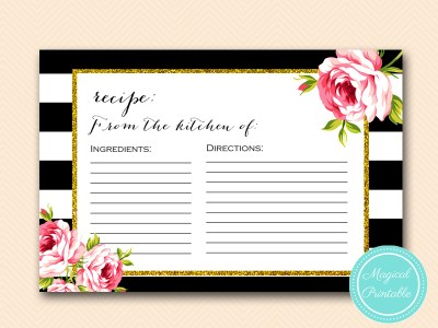 recipe from the kitchen of cards-black-stripes-pink-floral-chic-bridal-shower