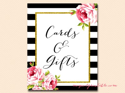 sign-cards-gifts black stripes floral bridal shower sign wedding
