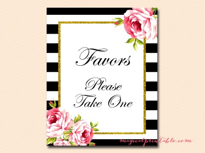 sign-favors black stripes floral bridal shower sign wedding sign