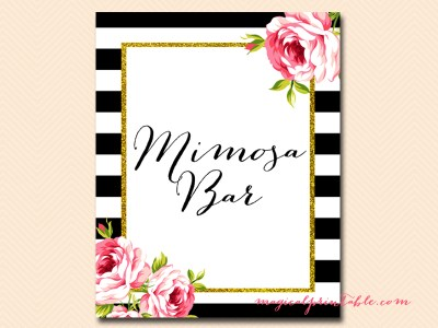 sign-mimosa-bar black stripes floral bridal shower sign wedding