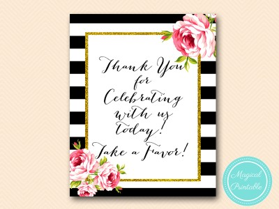 sign-thanks-for-celebrating-take-a-favor-floral-black-stripes-bridal-shower