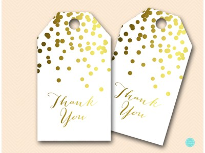 BS87-Favor-Tags gold decoration thank you tags, gold bridal shower