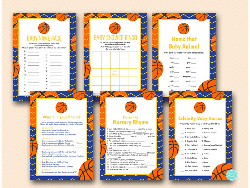 Blue And Yellow Basketball Baby Shower Game Pack
