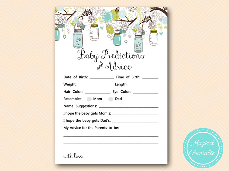 Mason Jars Baby Shower Game Package Magical Printable Office Baby  Predictions Printable Baby Predictions Printable