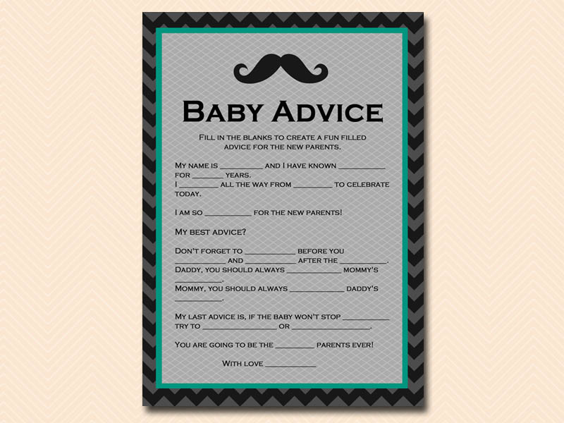 baby advice mustache baby shower game tlc65
