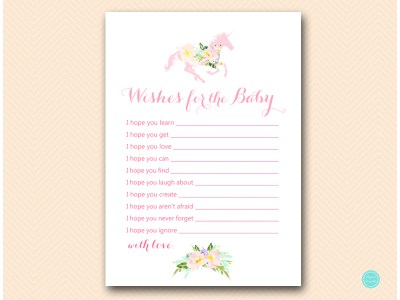 TLC497-wishes-for-baby-card-unicorn-carousel-horse-baby-shower