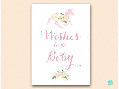 TLC497-wishes-for-baby-sign-unicorn-carousel-horse-baby-shower