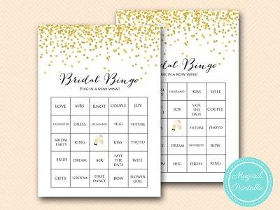 Prefilled Bridal Shower Bingo Cards Bridal Words Bingo