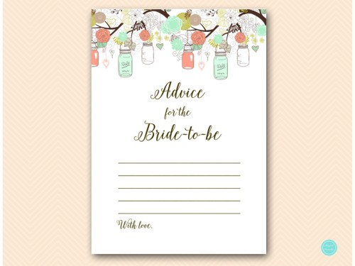 BS64-advice-for-bride-card-5x7-mint-coral-bridal-shower-game