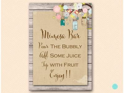 Rustic Wooden Mimosa Bar Sign, Mimosa Bar Printable