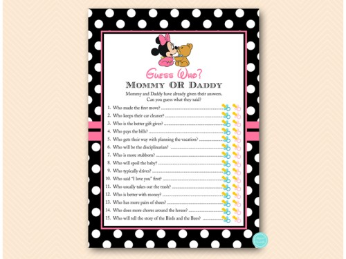 Minnie mouse baby shower games magical printable minnie mouse baby shower game guess who mommy filmwisefo