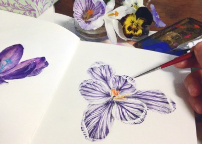 Crocus -krokus, art work painting flowers
