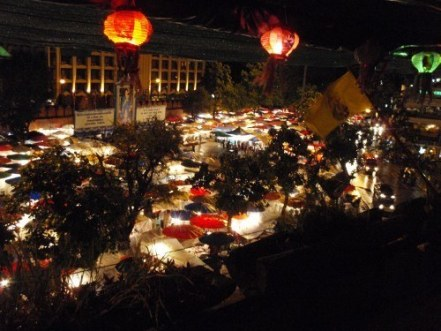 The night markets viewed from a bar called THC