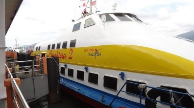 Close up of our ferry from Penang to Langkawi