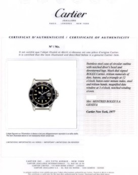 Rolex Sub 1680 Cartier Documents Archive
