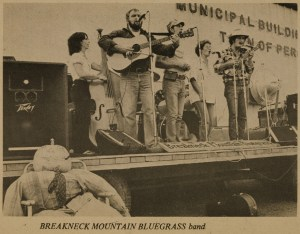 Breakneck Mountain Bluegrass Band; Nancy Merrill, Jim Moffatt, Joe Kennedy, Jane Burtt, Wayne Burtt. Circa 1983-84.