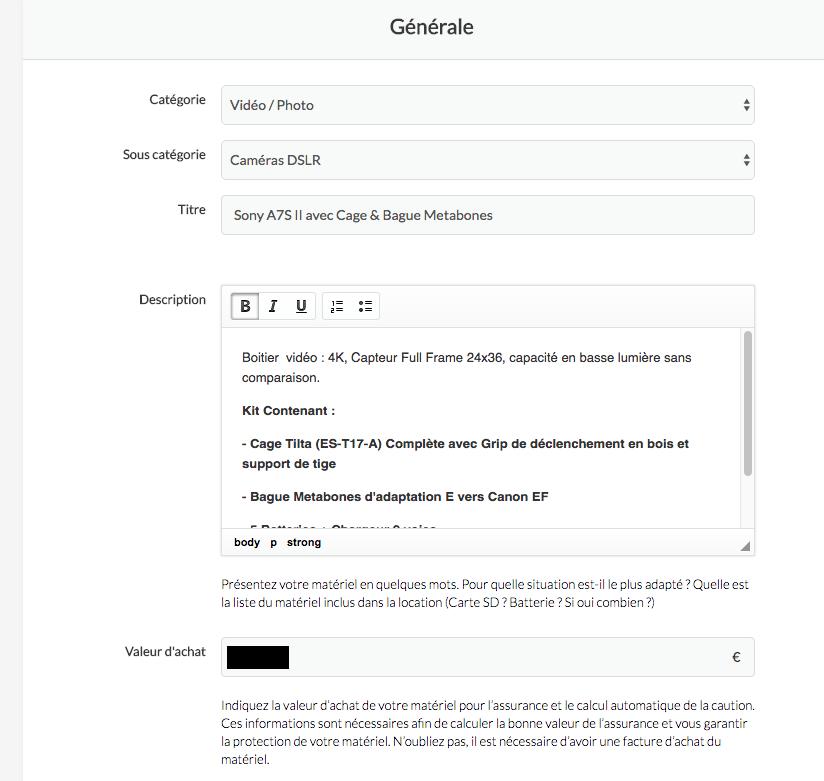 Le formulaire de création d'annonce