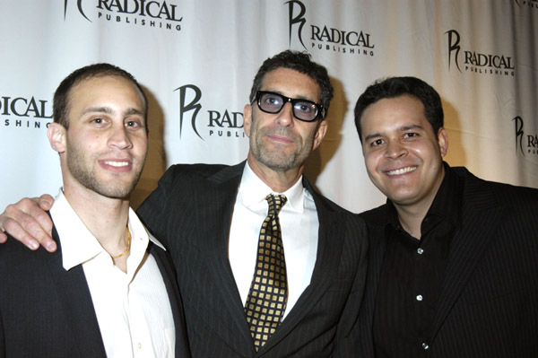Radical Publishing's Jesse Berger, David Schiff and Teddy Cabugos attend the Grand Opening of Radical Publishing held at the Radical Publishing offices on February 19, 2009 in Los Angeles, California.