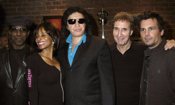 Actor Wesley Snipes, guest, musician Gene Simmons of KISS, producer Barry Levine and director Len Wiseman attend the Grand Opening of Radical Publishing held at the Radical Publishing offices on February 19, 2009 in Los Angeles, California.