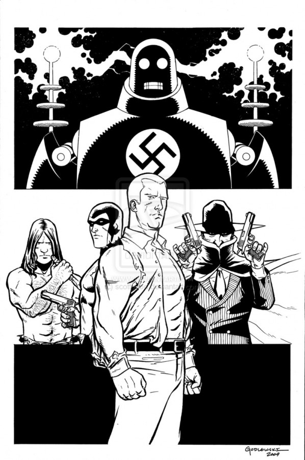 L to R: Tarzan, The Phantom, Doc Savage, The Shadow. (Click for larger image)