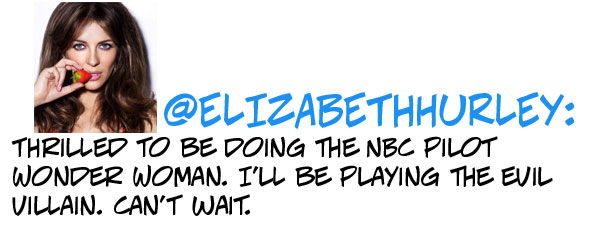 Thrilled to be doing the NBC pilot Wonder Woman. I'll be playing the evil villain. Can't wait.