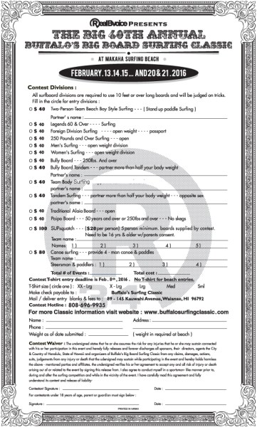 BBBSC ENTRY FORM